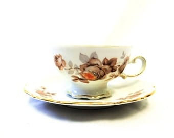 Mitterteich Norwey Rose Teacup & Saucer, Bavaria, Germany, German Teacup and Saucer