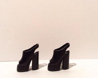 Vintage 1990s Barbie Black Platform Peeptoe Heels, Wheee!