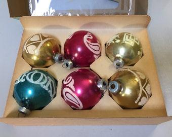 GLASS CHRISTMAS ORNAMENTS, Vintage Christmas Balls, Decorative Christmas Ornaments, flocked Christmas Ornaments, Set of ornament,retro decor