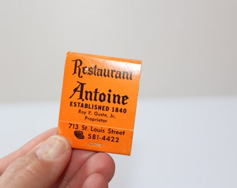 ANTOINE'S RESTAURANT MATCHBOOK,Vintage match book,Back strike book,New Orleans Restaurant souvenir,New Orleans souvenir,Will Rogers Quote