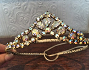 Embellished rhinestone tiara - A unique handmade tiara - statement piece be sure to stand out on your special day