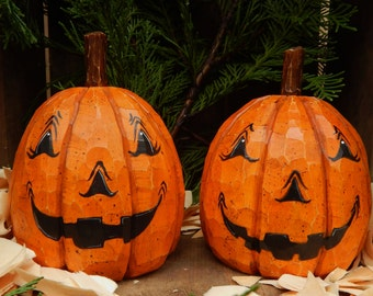 Hand Carved Jack O Lantern Pumpkins (2) from basswood.