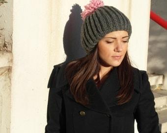 POM POM hat women Winter gift hand knit wool beanie   EllenaKnits