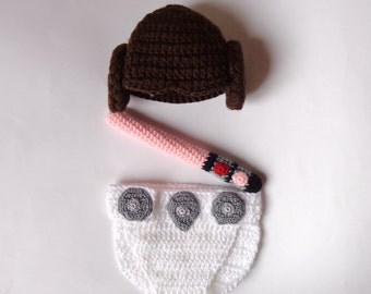 Princess Leia Baby Costume Hat And Diaper Cover With Light Saber Set From Star Wars For Girl Newborn Halloween / Cosplay