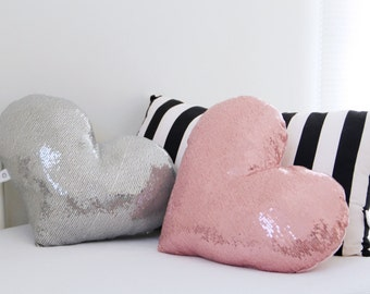 Pink sequins pillow | Heart shaped pillow | Pink heart | metallic sequins throw pillow | sparkly nursery decor | pink nursery | girls pillow