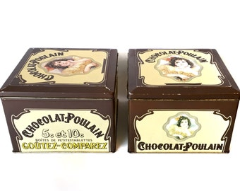 Vintage Pair of Chocolat-Poulain Tins - French Chocolate Advertising Tin Square Containers
