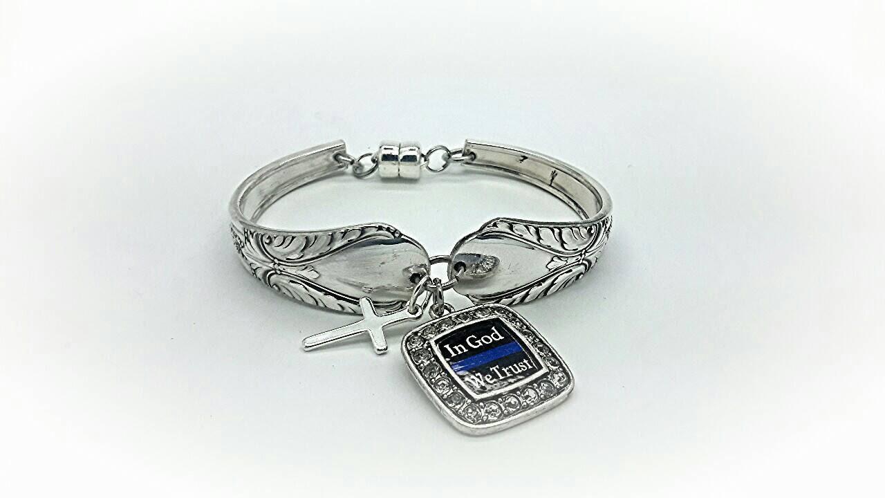 spoon bracelet thin blue line in god we trust charm law. Black Bedroom Furniture Sets. Home Design Ideas