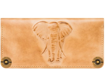 Leather wallet with embossed elephant, color ivory