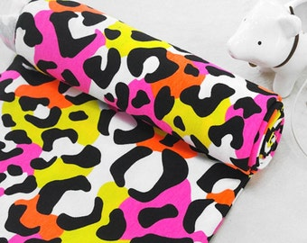 Cotton Blend Jersey Knit Fabric Colorful Leopard By The Yard