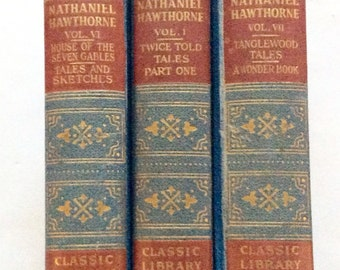 Antique Vintage Book set Nathaniel Hawthorne Booke Shelf Decor Home Gift Tanglewood Tales Blue Classic Library