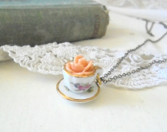 Little Tea Cup Necklace, Apricot Rose Necklace, Whimsical Jewelry, Feminine Necklace