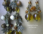 CHRISTMAS SALE Sunny Elven Raw Baltic amber Ivy charm woodland earrings Boho Beaded cascade Medieval rustic wooden wire wrapped earrings