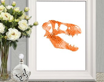 Dinosaur head skeleton print Orange boys bedroom decor Orange T-Rex printable T rex skull Dinosaur wall art poster 5x7 8x10 11x14 DOWNLOAD