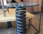 Salvaged repurposed train spring end table