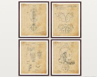 Football Poster - Inventions of Football Set of 4 Prints - Football Helmet - Football Pads - Football - Football Art - Football Wall Art