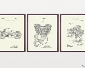 Harley Davidson Poster - Set 3 Prints - Harley Poster - Harley Davidson Motorcycle - Harley Engine - Harley Side Car - Motorcycle Art