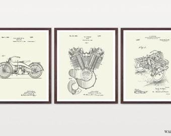 Harley Davidson Poster - Set 3 Prints - Harley Poster - Harley Davidson Motorcycle - Harley Engine - Harley Side Car - Motorcycle Art