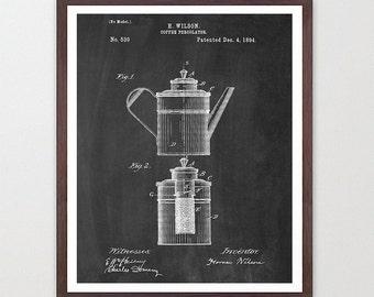 Coffee Patent - Percolator - Kitchen Patent Poster - Kitchen Poster - Coffee Art - Patent Print - Patent Poster - Coffee Patent - Coffee