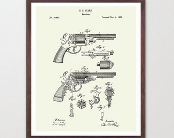 Revolver - Revolver Poster - Gun Patent - Revolver Patent - Gun Poster - Revolver Art  - Gun Wall Art - Hand Gun - Pistol - Old Gun Art