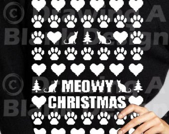 Ugly Cat Sweater SVG AND DXF File