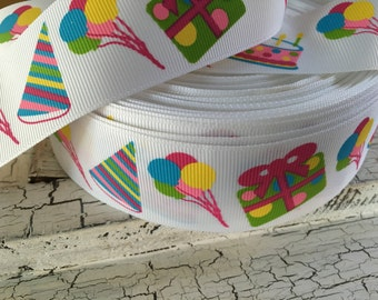 "5 yards 1.5"" happy birthday present party hat candles grosgrain"