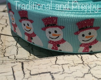 "7/8"" Christmas Glitter SNOWMAN grosgrain ribbon sold by the yard"
