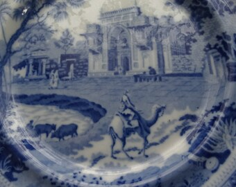"""CODE: MOVINGSALE 35% OFF Antique  Rogers Blue Transferware """"Camel"""" Pearl Ware Staffordshire Plate. Circa 1815-1842. Made in England."""
