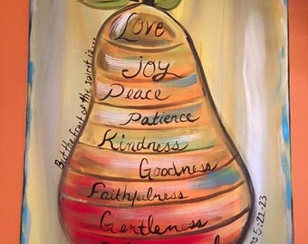 Fruit of the Spirit painting 16 x 20 Galatians Bible verse Love Joy peace patients kindness gentleness goodness self-control