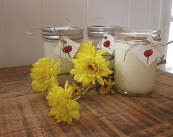 Three Floral Scented Soy Candles in 8oz Mason Jar