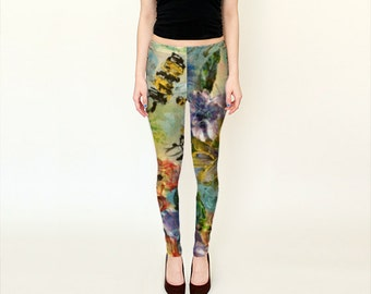 Printed leggings, fashion leggings, capris, women's pants, yoga pants, jeggings, printed tights, flowers and bees printed leggings