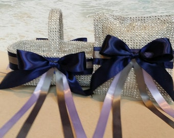 Bling Basket & Pillow - Your choice of ribbon colors (Up to 4) - Wedding Rhinestone Diamond Crystal Flower Girl Ring Bearer Silver