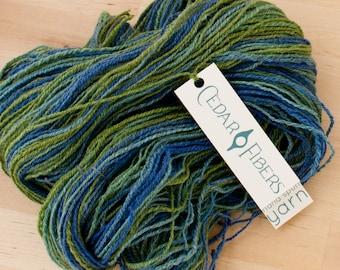 Hand Spun Worsted Weight Merino Wool Yarn Seaglass