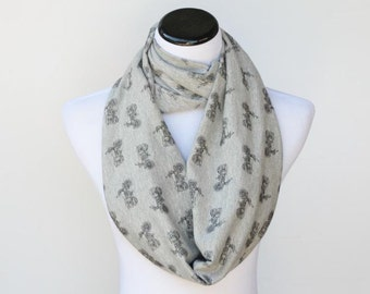 Gray infinity scarf motorcycle print cotton jersey knit scarf bike circle scarf matching scarf for mom and child women teenage girl toddler