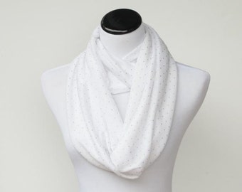 White and golden pin dots infinity scarf soft jersey knit loop scarf circle scarf white gold - scarf for teen girls and women
