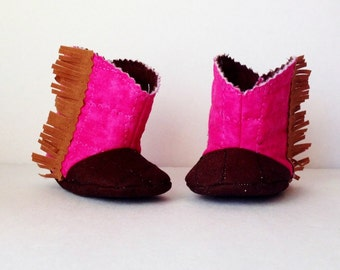 Hot pink and brown fringe baby boots, baby cowgirl boots, new baby girl gift