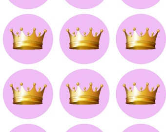 Pink with Gold Crown Edible Image Cupcake Toppers