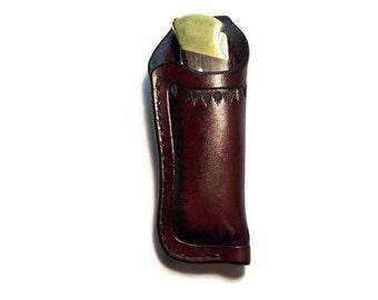 Buck 112 Custom Leather Knife Sheath with stitched belt loop grs