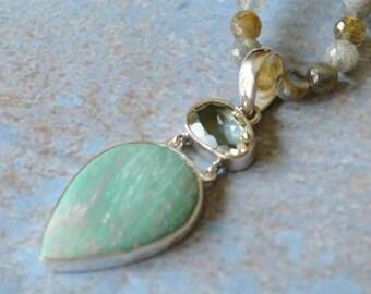 Verascite Teardrop,Faceted Green Amethyst Oval,Sterling Silver,Gemstone Pendant,2 Stone Pendants,Stone,Semi Precious,Pendants,FREE SHIPPING