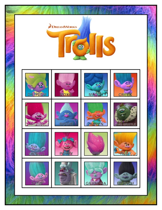 Printable Trolls Bingo Game