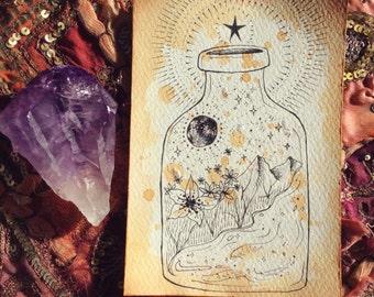 universe in a jar : tea + glitter ~ faerie heartwork original sketch