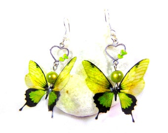 925 Silver Earrings green butterflies