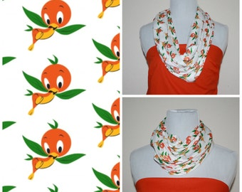 Orange Bird Circle Scarf, Infinity Scarf