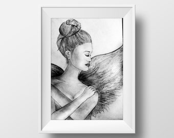 Handmade drawing of an Angel A3