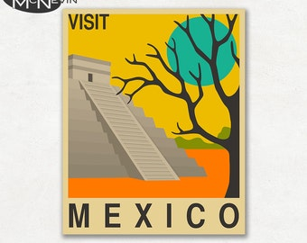 MEXICO, SOUTH AMERICAN Travel Poster, Retro Pop Art