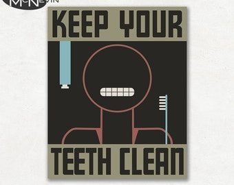 KEEP Your Teeth CLEAN, Vintage 1930's WPA Poster Reproduction