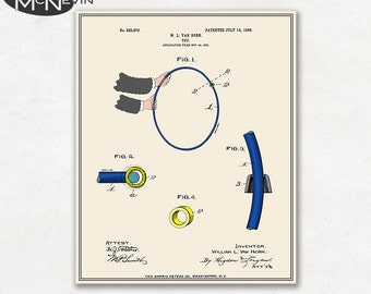 HULA HOOP Patent, Vintage Fine Art Print Poster, Colour, Blueprint, or Black and White