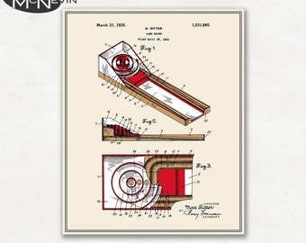 SKEE BALL Patent, Vintage Fine Art Print Poster, Colour, Blueprint, or Black and White