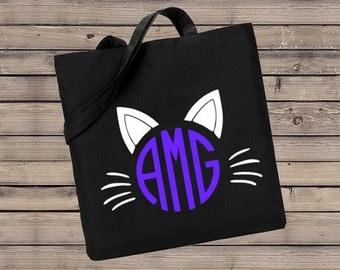 Monogrammed Cat Trick or Treat Bag, Trick or Treat Halloween Bag, Halloween Bag, Personalized Trick or Treat Bag