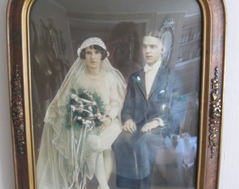 ANTIQUE 1920'S ORNATE convex glass framed wedding picture