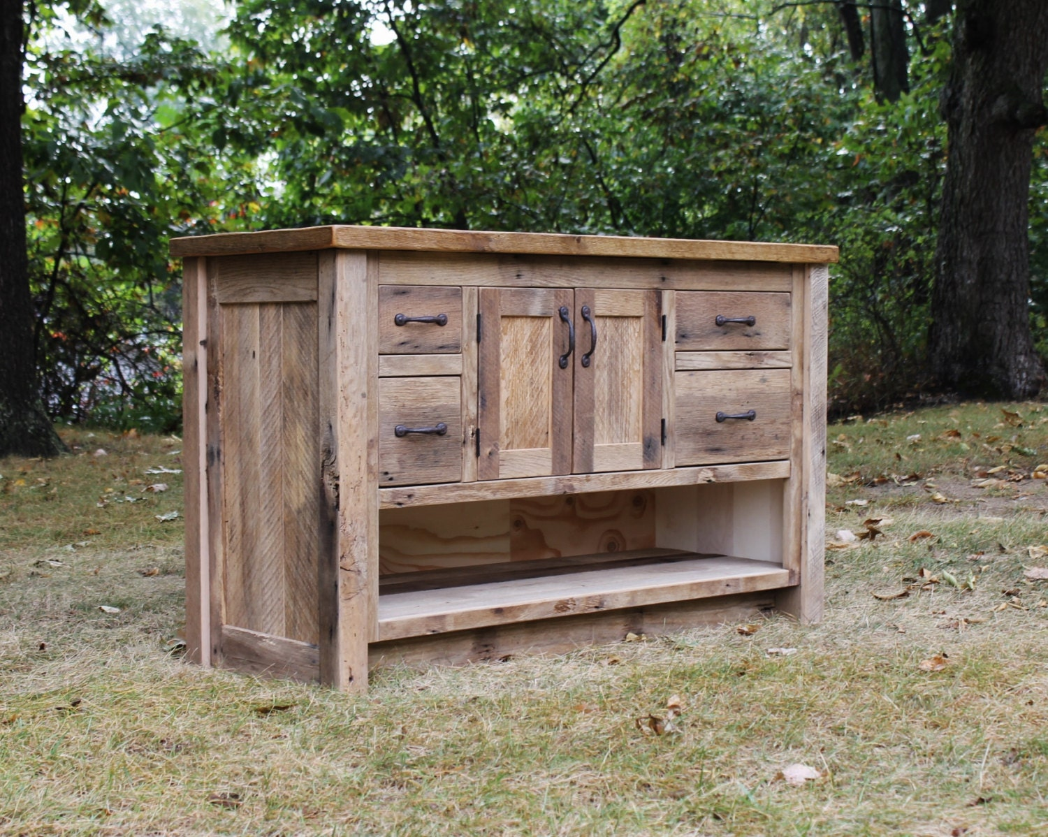 Rustic vanity reclaimed barn wood